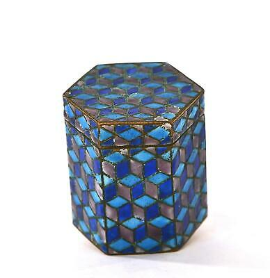 Early 20th Century Chinese Brass Enamel Hexagon Pill Box NOT SILVER