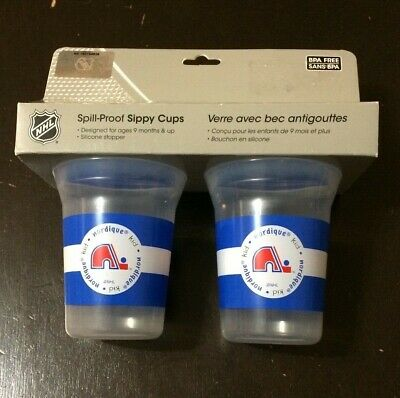2 NHL Quebec Nordiques Spill Proof Sippy Cups  (9months and UP)