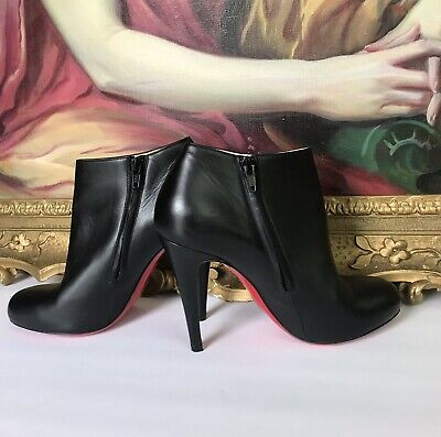 new products dae0f 8b80d CHRISTIAN LOUBOUTIN BELLE 100 mm Black Leather Ankle Booties 38 1/2