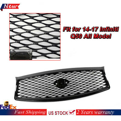 Black Painted Front Mesh Grille Upper Grill fit for 14-17 Infiniti Q50 All Model