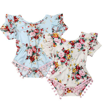 New Newborn Baby Girl Flowers Ruffle Romper Bodysuit Jumpsuit Outfit Clothes