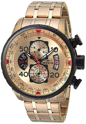 Invicta 17205 Men's Aviator Chronograph 18k Gold Ion Plated Watch Stainles Steel