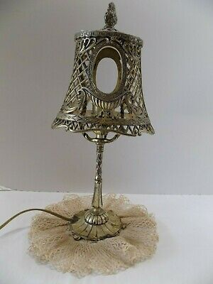 Vintage Small Accent Lamp Metal Silver Filigree Unmarked  (5)