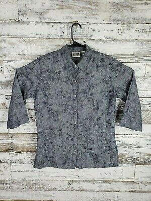 Chico's Design Womens Blue Embroidered Linen Button Up 3/4 Sleeve Shirt Sz 1