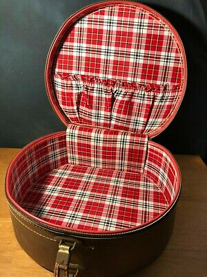 Vintage Round Hat Box Luggage Carry-On Case with Red Plaid Interior