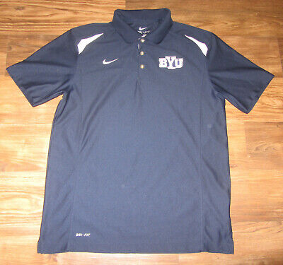 official photos 94c4e bcebe BYU Cougars Mens Short-Sleeve Polo Shirt, Nike Dri-Fit, Blue,