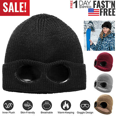 f74250983fd Men Women Unisex Goggle Beanie Winter Hat Ski Slouchy Chic Knitted Cap Skull