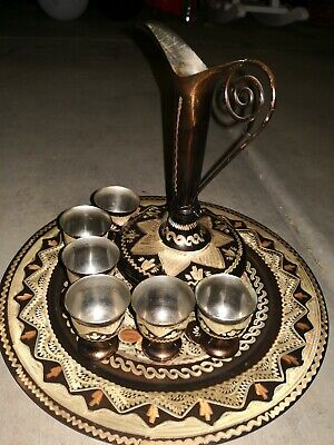 Antique Coffee/Tea Set Turkish Middle Eastern Carafe Tray & Goblets