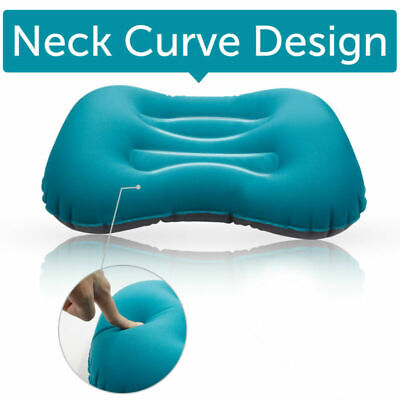 Air Pillow Inflatable Cushion Portable Head Rest Compact Travel Camping Blue @A1
