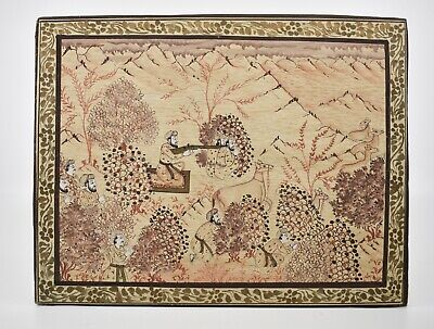ANTIQUE Islamic Artwork with Hand painted Gold Accents War scene