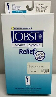Jobst Relief Chap Style 20-30 Open Toe Right Leg CompressionStocking MediumBeige