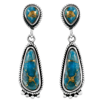 1 Pair Woman Vintage 925 Silver Jewelry turquoise Charm Earring Pendant NEW  !!