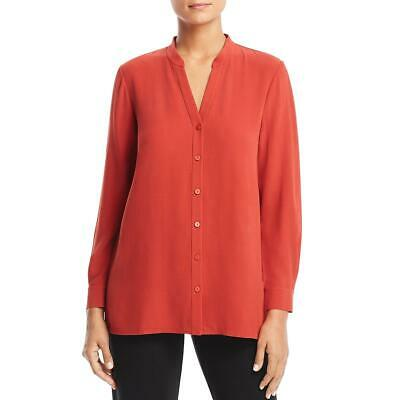 07a0c6aedfbd88 Eileen Fisher Womens Red Silk Stand Collar Tunic Top Blouse Petites PS BHFO  9041