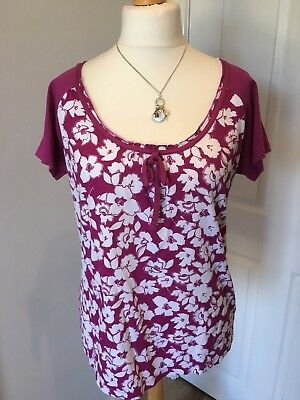 Pretty Marks & Spencers Ladies Floral T Shirt Pink 16 Casual Holiday
