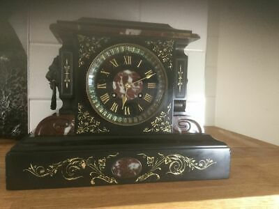A Good Quality Marble/ Slate/  Mantle Clock Only 9 Inch Tall  C-1880