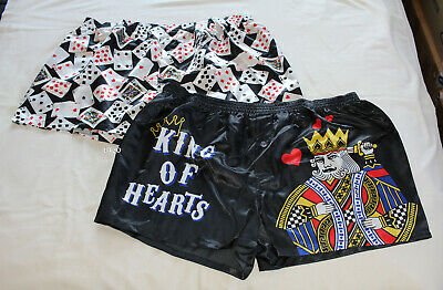 King Of Hearts Cards Mens Printed Novelty Satin Boxer Shorts 2 Pack Size 4XL New