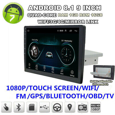 "9"" 1 Din Android 8.1 Touch Quad-Core Car Stereo Radio GPS Wifi 3G 4G Mirror Link"