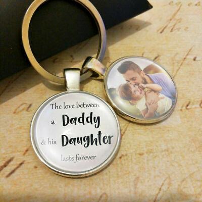 Personalised Daddy Daughter Dad Photo Keyring Fathers Day Birthday Present Gift