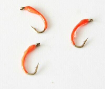 12 Buzzers Bloodworm Special Tangerine Epoxy Buzzers Choice Of Size  Qty Trout