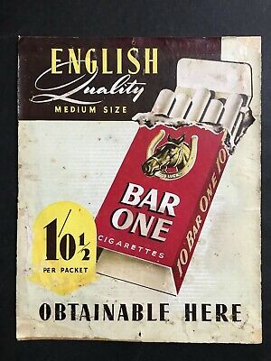 CIGARETTE ADVERTISING VINTAGE 1940's ENGLISH QUALITY BAR ONE CARDBOARD SIGN