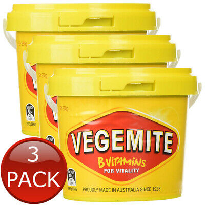 3 x KRAFT VEGEMITE TUB JAR AUSTRALIAN MADE VEGAN HALAL SANDWICH SPREAD 950g