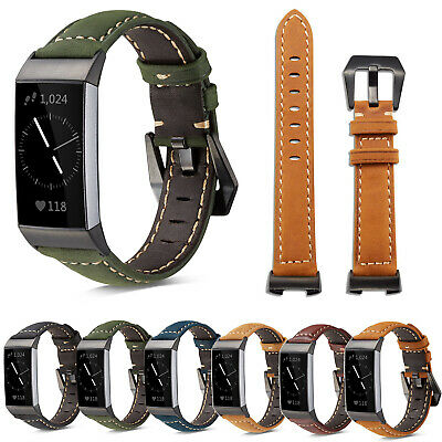 Genuine Leather Watch Band For Fitbit Charge 3 Smart Bracelet Wrist Strap Belts