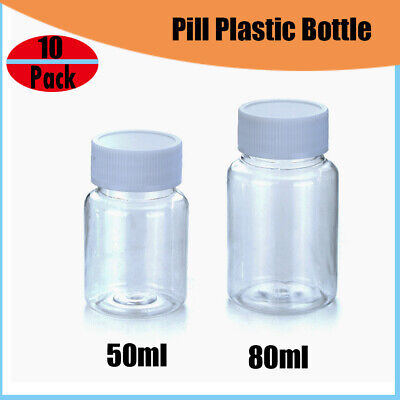 2d0a2188d210 10 EMPTY PLASTIC Pill Bottles Medicine Container Vitamin Capsule ...