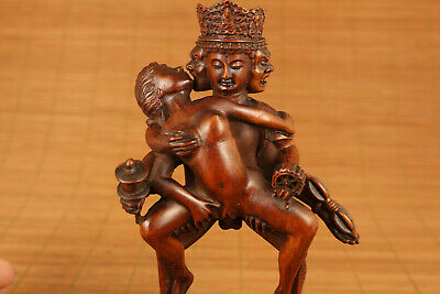antique chinese old boxwood Buddha evil love girl statue figure netsuke deco