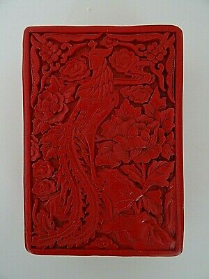 Vintage Red Chinese Faux Cinnabar Carved Bird Paradise Lidded Black Lacquer Box