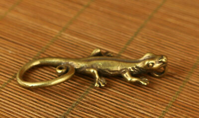 collectable chinese old copper hand carved lizard statue netsuke