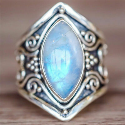 Natural Moonstone Silver Plated Ring Men Women Jewelry Gemstone Wedding Size6-10