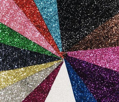 A4 A5 Sheet Shinny Chunky Glitter Fabric Fine Sparkly Vinyl Craft Wall Decor Bow