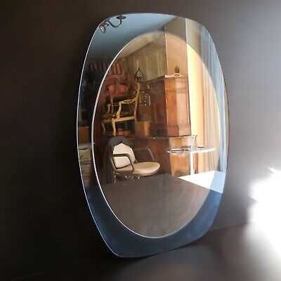 Miroir ovale rectangle mural verre art déco fait main Design XXe 1950 France