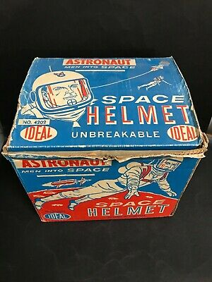 IDEAL TOYS ASTRONAUT  SPACE HELMET WITH RETRACTABLE VISOR FROM 1960's RARE ITEM