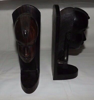 "PAIR of Hard Wooden Carved AFRICAN HEAD 9 1/2"" Tall BOOKENDS"