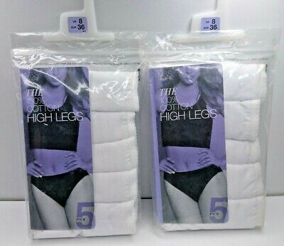 M&S Size 8 High Legs Briefs Cotton White Knickers 10 Pairs Marks And Spencer
