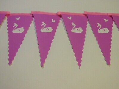 Swan Bunting Nursery Girls Pink Bedroom Card Environmental