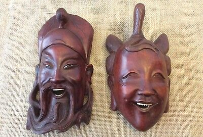 """Vintage Rare Pair Of Red Wood Happy Face Chinese Couple 8""""X4"""" Each."""