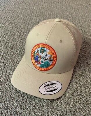 e700512593f1b Great Seal of FLORIDA Hat SnapBack Trucker Mesh Cap Handcrafted in the USA!