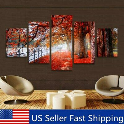 5Pcs Tree Maple Abstract Oil Painting Wall Home Decorative Canvas Print Unframed