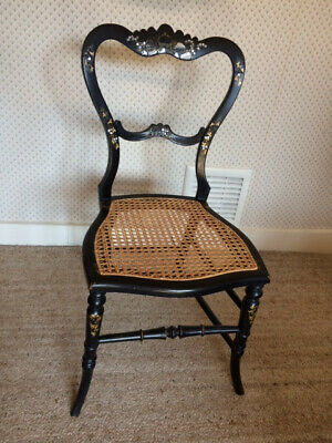 Antique Victorian small ebonised mother of pearl inlaid chair with cane seat