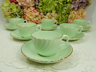 6 Vintage Minton English Porcelain Cups & Saucers Shell Pastel Green Gold