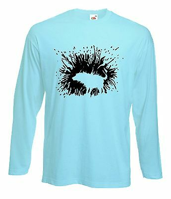 BANKSY SHAKING DOG LONG SLEEVE T-SHIRT - Graffiti Art Wet  - Choice Of 4 Colours
