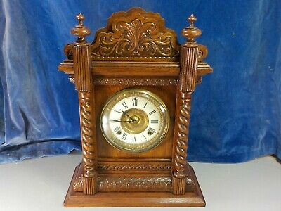 Carved Oak Mantle Clock c.1900  [1031]