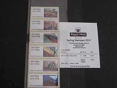 2017 1st Class Strip Mail By Rail - Stampex First Day of Issue Receipt