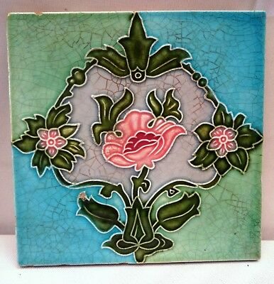 Art Nouveau Vintage Tile Ceramic Porcelain Majolica Made In Japan Collectibles