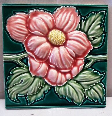 Antique Tile Japan Vintage Majolica Rose High Embossed Collectibles Art Nouveau