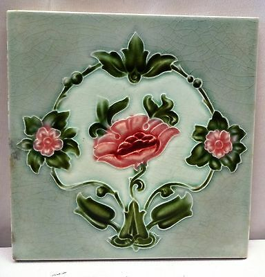Antique Tiles Art Nouveau Vintage Majolica Ceramic Flower Design Made In England