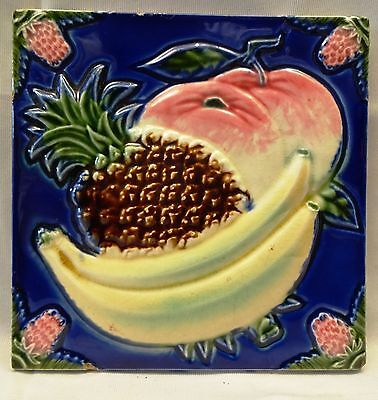 Antique Tile Majolica Fruit Pineapple Banana Vintage Ceramic High Embossed Tile