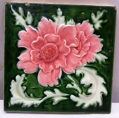 Antique Tile Art Nouveau Majolica Collectibles Architecture Vintage Tile Genuine